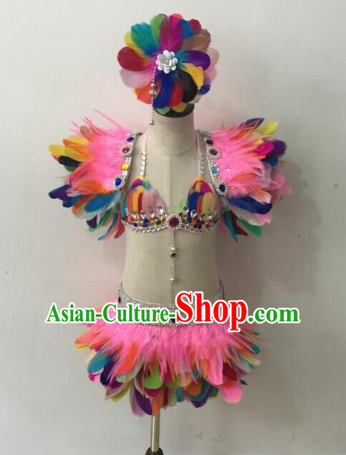Top Grade Professional Performance Catwalks Bikini Costume and Headpiece, Traditional Brazilian Rio Carnival Samba Modern Fancywork Colorful Feather Swimsuit for Kids