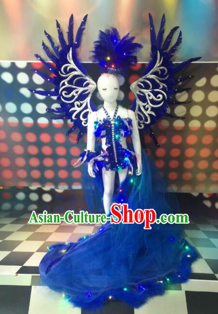 Top Grade Professional Performance Catwalks Bikini Costume and Headpiece, Traditional Brazilian Rio Carnival Samba Modern Fancywork Blue Feather Swimsuit for Kids