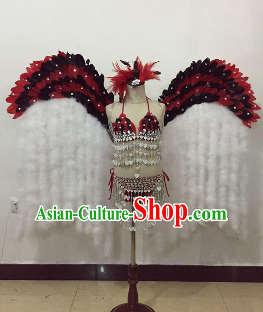 Top Grade Professional Performance Catwalks Bikini Costume and Wings, Traditional Brazilian Rio Carnival Samba Modern Fancywork Red Feather Swimsuit for Kids