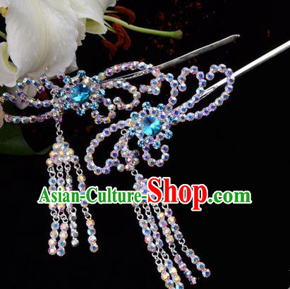 Chinese Ancient Peking Opera Hair Accessories Young Lady Diva Blue Phoenix Tassel Hairpins, Traditional Chinese Beijing Opera Hua Tan Colorful Colorful Crystal Head Ornaments