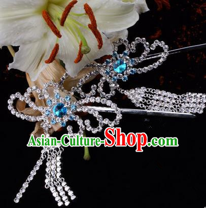 Chinese Ancient Peking Opera Hair Accessories Young Lady Diva Blue Phoenix Tassel Hairpins, Traditional Chinese Beijing Opera Hua Tan Colorful Crystal Head Ornaments