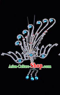 Chinese Ancient Peking Opera Hair Accessories Young Lady Diva Blue Phoenix Hairpins, Traditional Chinese Beijing Opera Hua Tan Colorful Crystal Head Ornaments