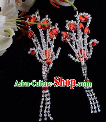 Chinese Ancient Peking Opera Hair Accessories Young Lady Diva Red Tassel Phoenix Hairpins, Traditional Chinese Beijing Opera Hua Tan Colorful Crystal Head Ornaments