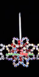 Chinese Ancient Peking Opera Hair Accessories Young Lady Diva Colorful Red Crystal Hairpins, Traditional Chinese Beijing Opera Hua Tan Head Ornaments