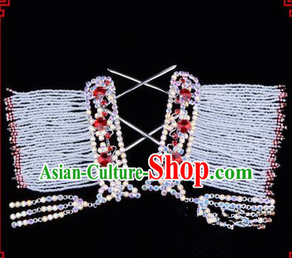 Chinese Ancient Peking Opera Hair Accessories Young Lady Diva Colorful Crystal Hairpins Red Temples Curtain, Traditional Chinese Beijing Opera Hua Tan Head Ornaments
