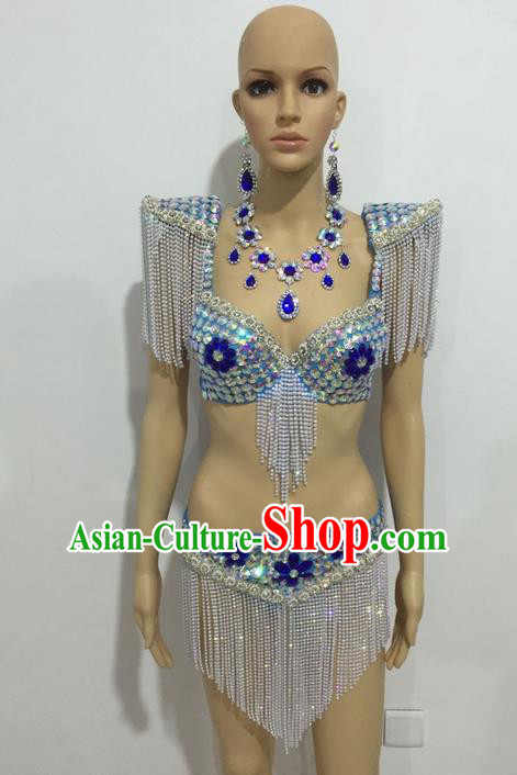 Top Grade Professional Performance Catwalks Swimsuit Costumes, Traditional Brazilian Rio Carnival Samba Suits Modern Fancywork Tassel Bikini Clothing for Women