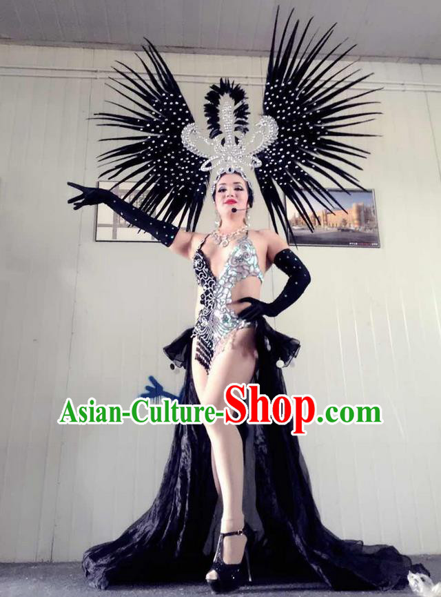 Top Grade Professional Performance Catwalks Swimsuit Costumes, Traditional Brazilian Rio Carnival Samba Suits Modern Fancywork Black Bikini Clothing for Women