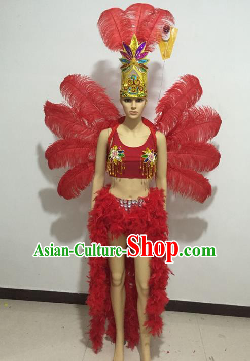 Top Grade Professional Performance Catwalks Swimsuit Costumes and Headpiece, Traditional Brazilian Rio Carnival Samba Suits Modern Fancywork Red Feather Bikini for Women