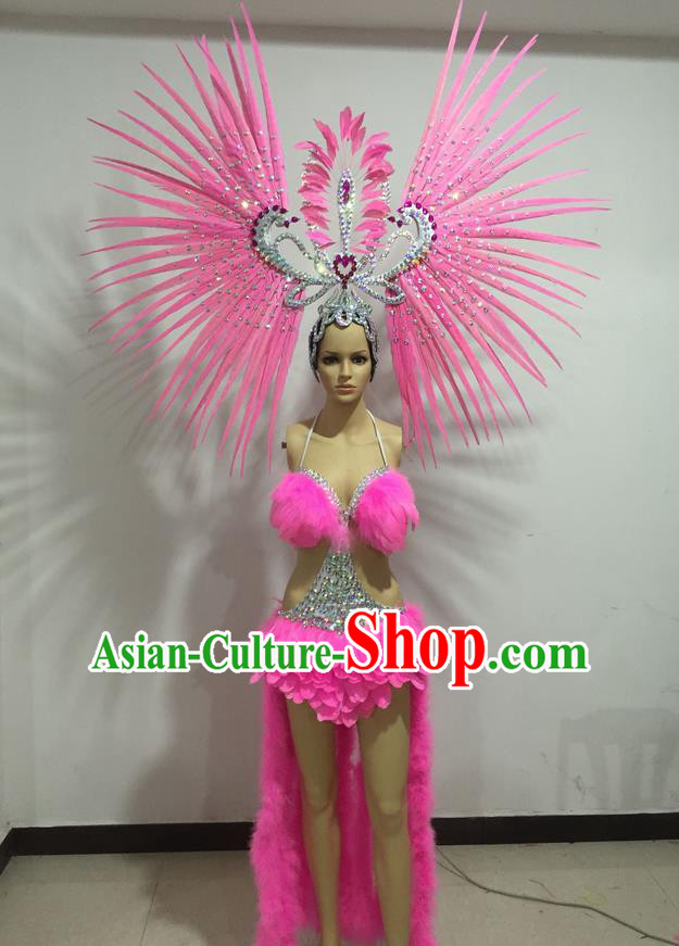 Top Grade Professional Performance Catwalks Swimsuit Costumes, Traditional Brazilian Rio Carnival Samba Suits Modern Fancywork Pink Bikini Clothing for Women