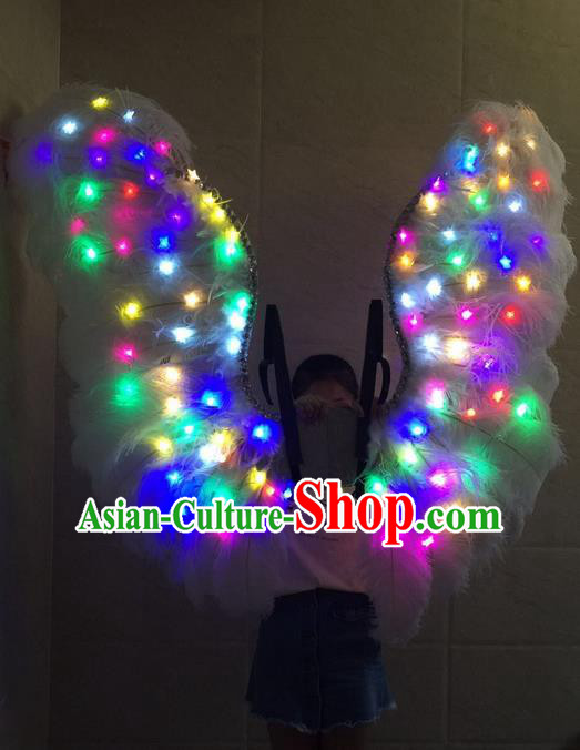 Top Grade Professional Stage Show Halloween Props Decorations Led Light Wings, Brazilian Rio Carnival Parade Samba Dance Catwalks White Feather Backplane for Women