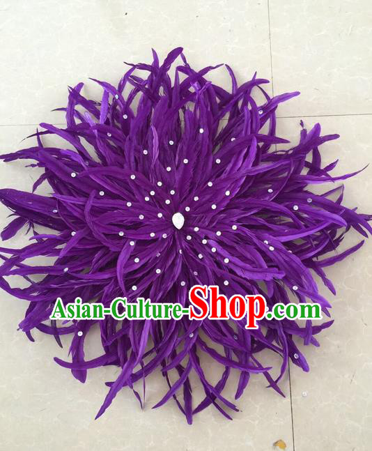Top Grade Professional Stage Show Halloween Parade Purple Feather Hair Accessories, Brazilian Rio Carnival Parade Samba Dance Catwalks Headpiece for Women