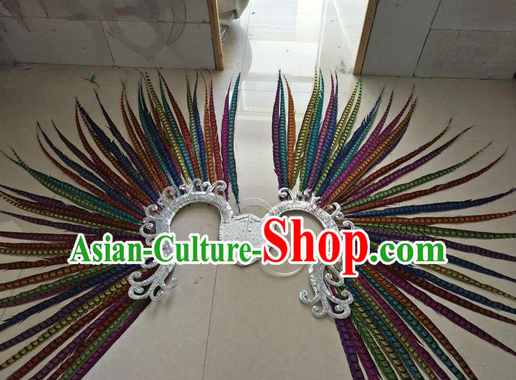 Top Grade Professional Stage Show Halloween Props Decorations, Brazilian Rio Carnival Parade Samba Dance Colorful Feather Catwalks Backplane for Women
