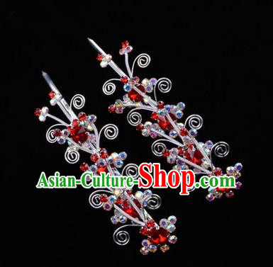 Chinese Ancient Peking Opera Hair Accessories Young Lady Diva Butterfly Head Ornaments, Traditional Chinese Beijing Opera Hua Tan Colorful Crystal Red Hairpins