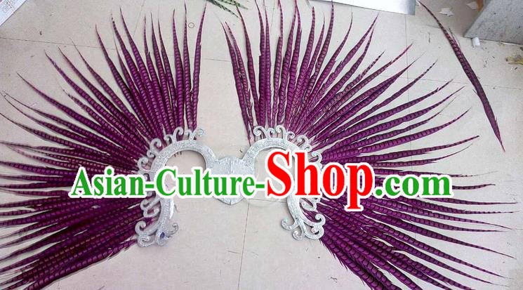 Top Grade Professional Stage Show Halloween Props Decorations, Brazilian Rio Carnival Parade Samba Dance Amaranth Feather Catwalks Backplane for Women