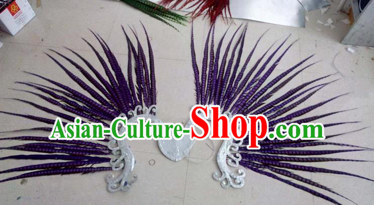 Top Grade Professional Stage Show Halloween Props Decorations, Brazilian Rio Carnival Parade Samba Dance Purple Feather Catwalks Backplane for Women