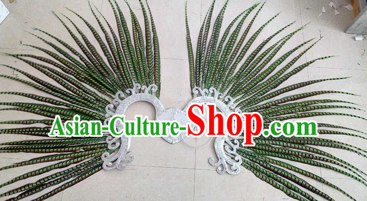 Top Grade Professional Stage Show Halloween Props Decorations, Brazilian Rio Carnival Parade Samba Dance Green Feather Catwalks Backplane for Women