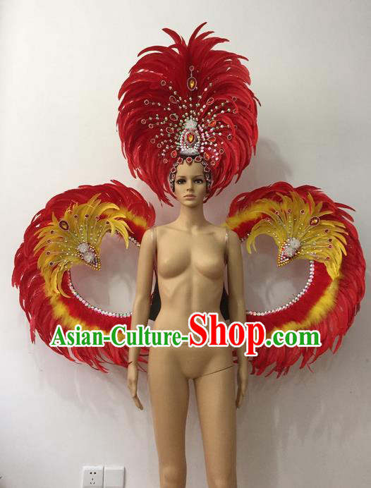 Top Grade Professional Stage Show Halloween Parade Props Decorations Wings and Headpiece, Brazilian Rio Carnival Parade Samba Dance Red Feather Backplane for Women