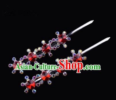 Chinese Ancient Peking Opera Hair Accessories Young Lady Diva Head Ornaments, Traditional Chinese Beijing Opera Hua Tan Red Colorful Crystal Four Beads Hairpins