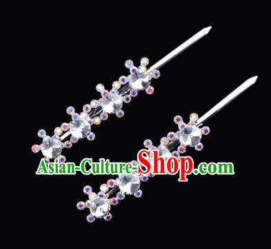 Chinese Ancient Peking Opera Hair Accessories Young Lady Diva Head Ornaments, Traditional Chinese Beijing Opera Hua Tan White Colorful Crystal Four Beads Hairpins