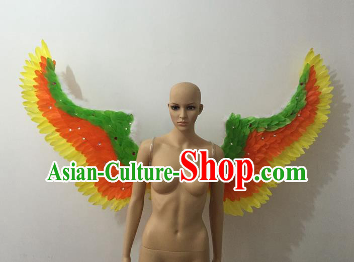 Top Grade Professional Stage Show Halloween Parade Feather Wings, Brazilian Rio Carnival Samba Dance Modern Fancywork Props Decorations for Women