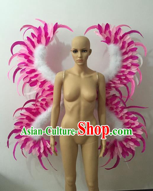 Top Grade Professional Stage Show Halloween Parade Pink Feather Butterfly Wings, Brazilian Rio Carnival Samba Dance Modern Fancywork Props Decorations for Women