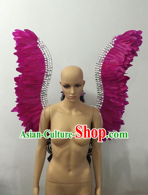 Top Grade Professional Stage Show Halloween Parade Rosy Feather Wings, Brazilian Rio Carnival Samba Dance Modern Fancywork Props Decorations for Women