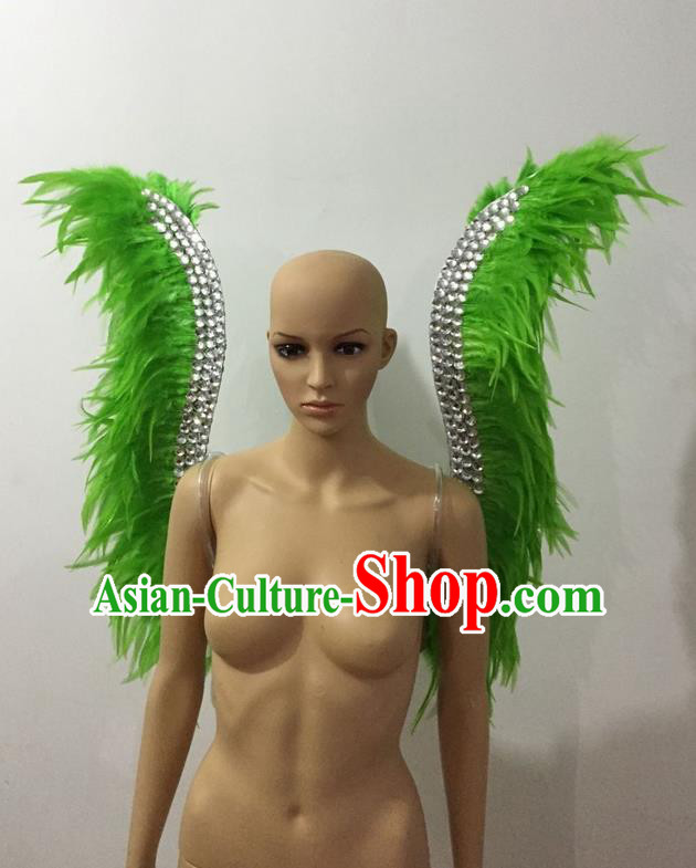 Top Grade Professional Stage Show Halloween Parade Green Feather Wings, Brazilian Rio Carnival Samba Dance Modern Fancywork Props Decorations for Women