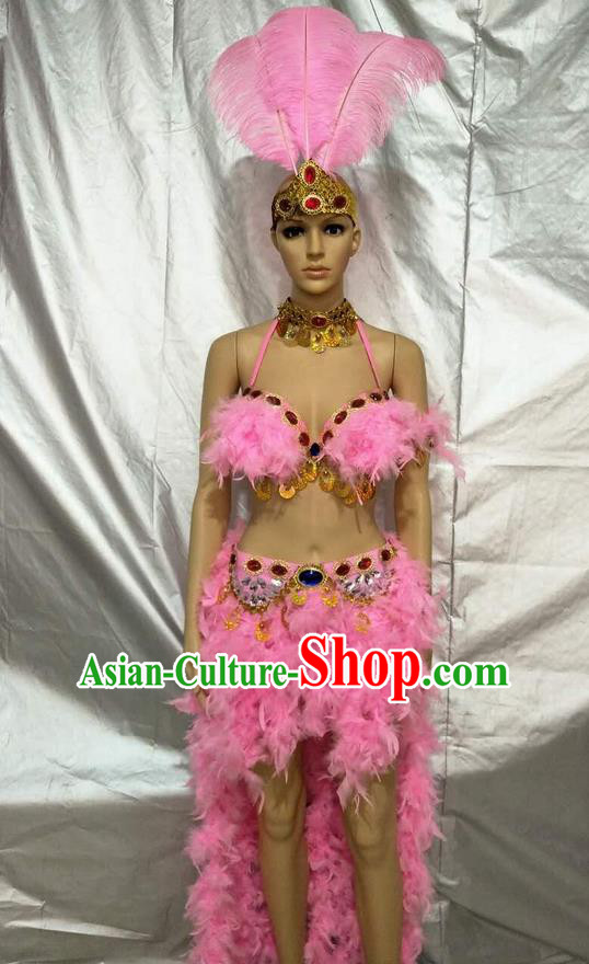 Top Grade Professional Performance Catwalks Bikini Clothing, Traditional Brazilian Rio Carnival Samba Modern Fancywork Pink Feather Swimsuit Costume for Kids