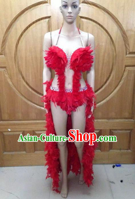 Top Grade Professional Performance Catwalks Red Feather Bikini Costume, Traditional Brazilian Rio Carnival Samba Dance Modern Fancywork Swimsuit Costume for Women