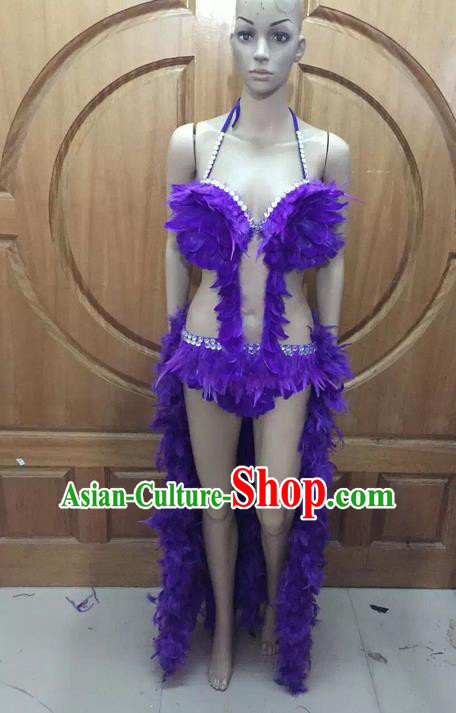 Top Grade Professional Performance Catwalks Purple Feather Bikini Costume, Traditional Brazilian Rio Carnival Samba Dance Modern Fancywork Swimsuit Costume for Women
