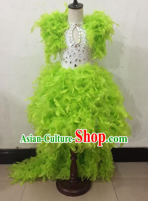 Top Grade Professional Performance Catwalks Costume Green Dress, Traditional Brazilian Rio Carnival Samba Dance Modern Fancywork Clothing for Kids