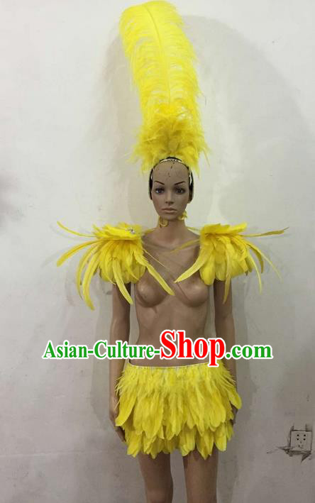 Top Grade Professional Performance Catwalks Costume Yellow Feather Bikini, Traditional Brazilian Rio Carnival Samba Dance Modern Fancywork Swimsuit Clothing for Women