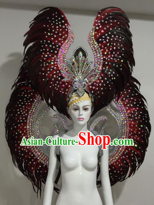 Top Grade Professional Stage Show Halloween Parade Red Feather Wings and Hair Accessories, Brazilian Rio Carnival Samba Dance Modern Fancywork Decorations Props for Women