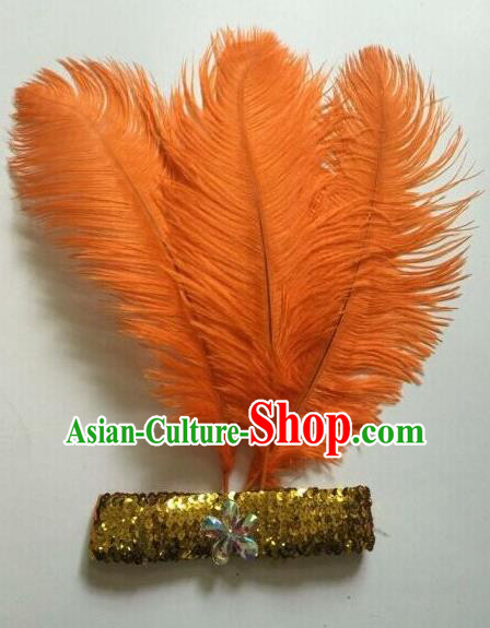 Top Grade Professional Stage Show Halloween Parade Orange Ostrich Feather Hair Accessories, Brazilian Rio Carnival Samba Dance Modern Fancywork Headwear for Women