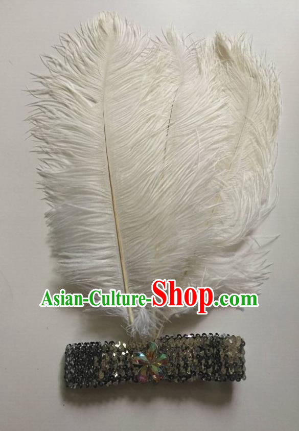 Top Grade Professional Stage Show Halloween Parade White Ostrich Feather Hair Accessories, Brazilian Rio Carnival Samba Dance Modern Fancywork Headwear for Women