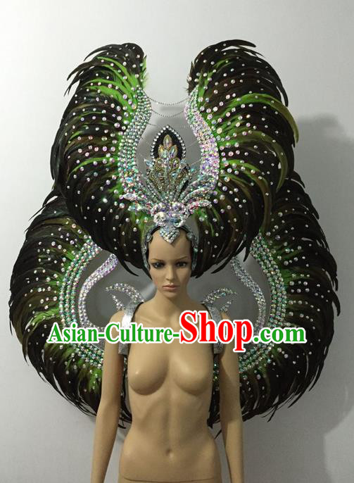 Top Grade Professional Stage Show Halloween Parade Green Feather Wings and Hair Accessories, Brazilian Rio Carnival Samba Dance Modern Fancywork Decorations Props for Women