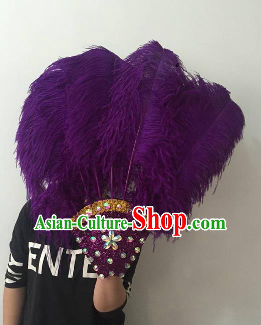 Top Grade Professional Stage Show Halloween Parade Purple Feather Big Hair Accessories, Brazilian Rio Carnival Samba Dance Modern Fancywork Headdress for Women