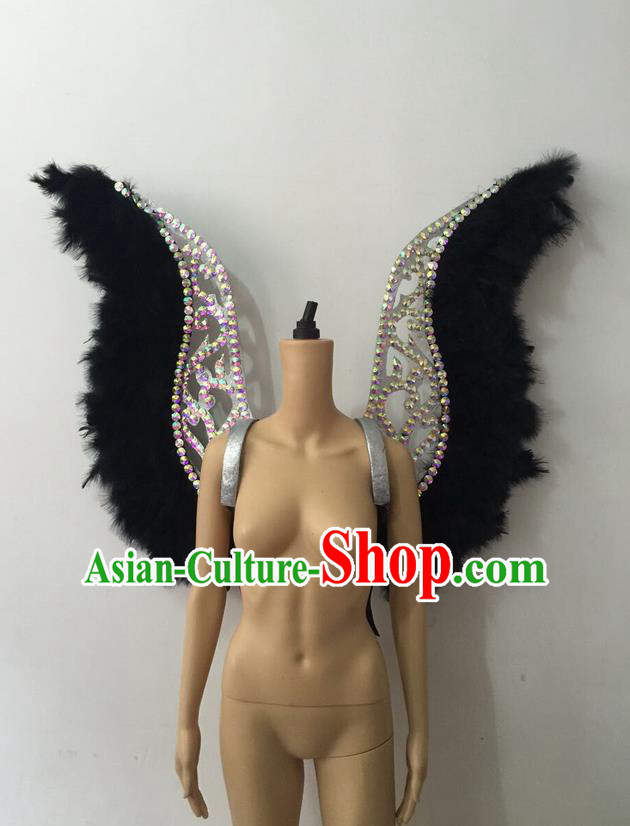 Top Grade Professional Stage Show Halloween Parade Black Feather Backplane, Brazilian Rio Carnival Samba Dance Modern Fancywork Golden Wings Props Decorations for Women