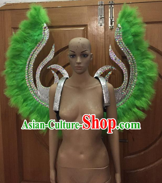 Top Grade Halloween Parade Decorations Brazilian Rio Carnival Samba Dance Green Feathers Deluxe Wings for Women