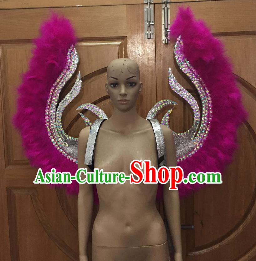 Top Grade Halloween Parade Decorations Brazilian Rio Carnival Samba Dance Rosy Feathers Deluxe Wings for Women