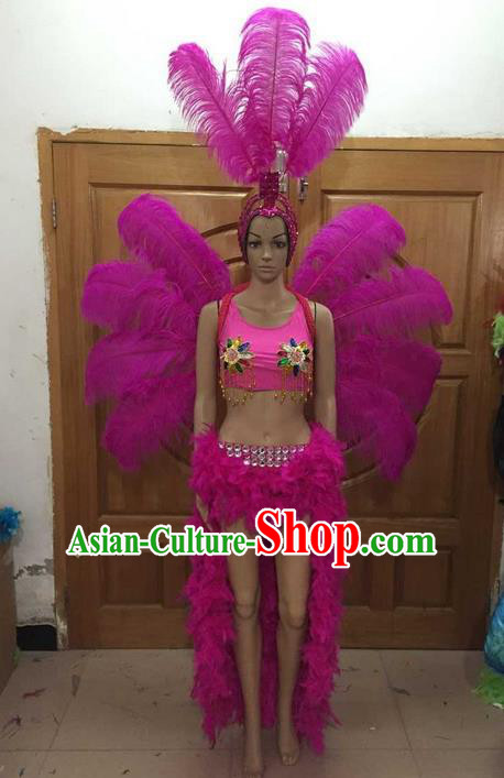 Top Grade Professional Performance Catwalks Costume Rosy Feather Bikini and Wings, Traditional Brazilian Rio Carnival Samba Dance Modern Fancywork Swimsuit Clothing for Women