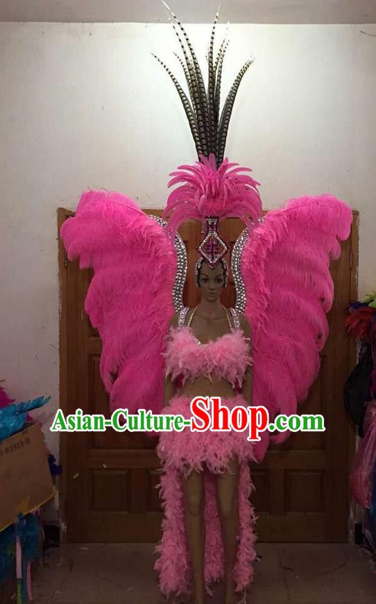 Top Grade Professional Performance Catwalks Costume Pink Feather Bikini and Wings, Traditional Brazilian Rio Carnival Samba Dance Modern Fancywork Swimsuit Clothing for Women