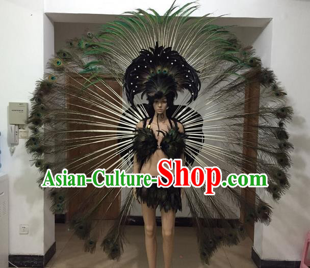 Top Grade Professional Performance Catwalks Costume Black Feather Bikini and Wings, Traditional Brazilian Rio Carnival Samba Dance Modern Fancywork Swimsuit Clothing for Women