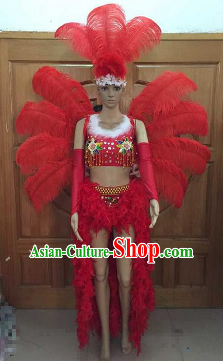 Top Grade Professional Performance Catwalks Costume Red Feather Bikini and Wings, Traditional Brazilian Rio Carnival Samba Dance Modern Fancywork Swimsuit Headpiece for Women