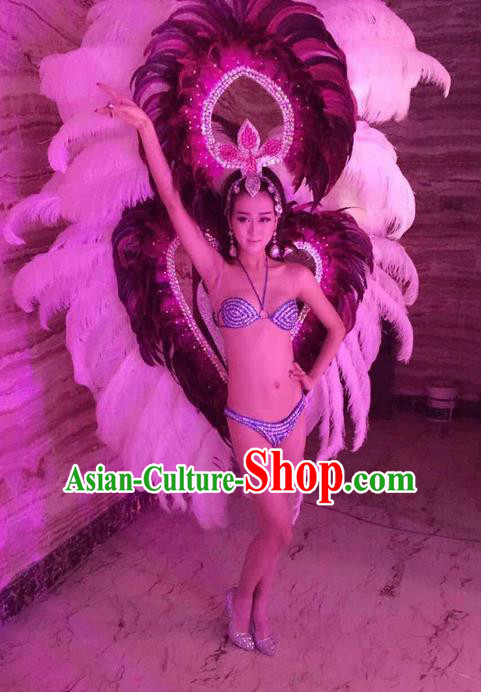 Top Grade Professional Performance Catwalks Costume White Feather Bikini and Wings, Traditional Brazilian Rio Carnival Samba Dance Modern Fancywork Swimsuit Headpiece for Women