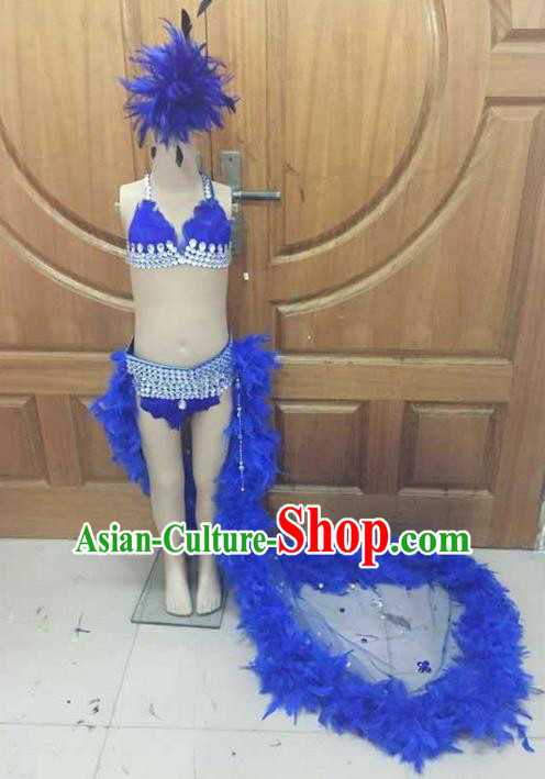 Top Grade Professional Performance Catwalks Costume Blue Feather Bikini, Traditional Brazilian Rio Carnival Samba Dance Modern Fancywork Clothing and Headpiece for Kids