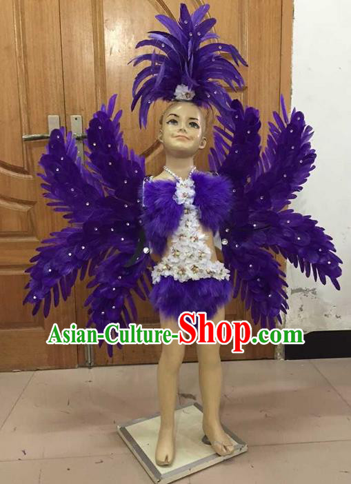 Top Grade Professional Performance Catwalks Costume Purple Feather Bikini with Wings, Traditional Brazilian Rio Carnival Samba Dance Modern Fancywork Clothing and Headpiece for Kids