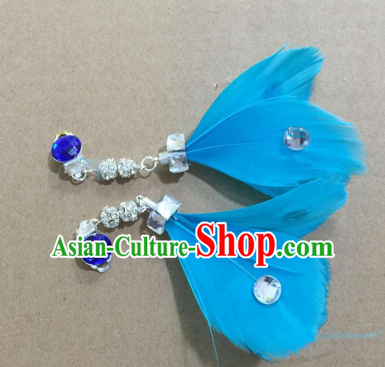Top Grade Brazilian Rio Carnival Samba Dance Accessories Earrings, Halloween Parade Blue Feather Eardrop for Women