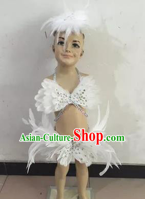 Top Grade Professional Performance Catwalks Costume White Feather Swimsuit, Traditional Brazilian Rio Carnival Samba Dance Bikini Clothing for Kids
