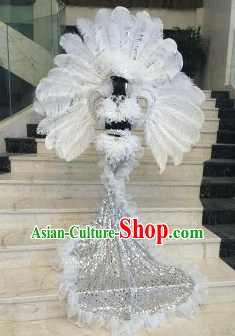 Top Grade Professional Performance Catwalks Feather Bikini Decorations, Traditional Brazilian Rio Carnival Samba Modern Fancywork Belly Dance Swimsuit Clothing for Women